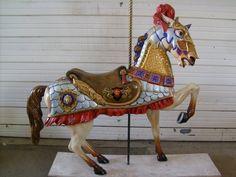 Carousel Armored Allan Herschell Horse Head Spike Plume Bradley Kaye Perfect