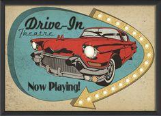 Sign Drive In Framed Vintage Advertisement