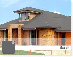 basalt colorbond roof - Google Search House Exterior Color Schemes, Exterior Colors, Exterior Paint, Exterior Design, Roof Colors, Brick Colors, Colours, Style At Home, Brown Brick Houses