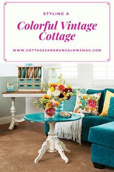 See how this homeowner used vibrant antique décor and hues to create a colorful vintage cottage perfect for gathering with loved ones! Cottage Style Decor, Cottage Style Homes, Beach Cottage Style, Beach House Decor, Romantic Cottage, Cozy Cottage, Beach Houses, Home Design, Interior Design