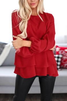 Round Neck Loose-Fitting Solid Blouse #Blouses