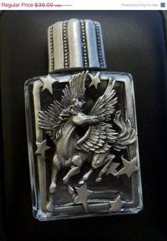 Pegasus Perfume Bottle Jonette vintage pewter JJ by dollherup, $27.00