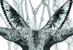Dentro de las ilustraciones de Jo Echandi se encuentra una cierta fascinación por la simetría y elementos geométricos.