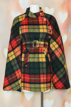 VTG 60s MOD Red TARTAN PLAID Wool BELTED Buffalo Cape Coat