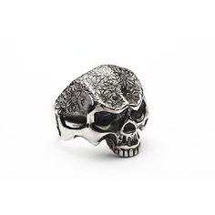 flowers skull silver ring-handmade