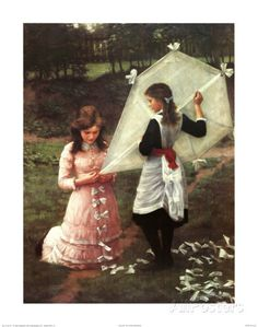 Pink Dress Painting - The Kite by John Morgan Find Art, Buy Art, Go Fly A Kite, Kite Flying, Victorian Paintings, The Birth Of Venus, Dress Painting, Framed Artwork, Framed Canvas