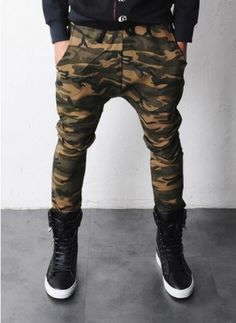 Mens Elton Camouflage Drop Crotch Baggy Sweatpants at Fabrixquare