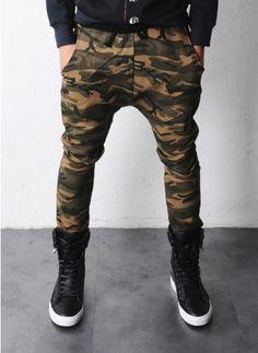 Mens Elton Camouflage Drop Crotch Baggy Sweatpants at Fabrixquare