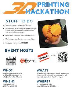 Atlanta Mini Maker Faire 3D printing hackaton. 2/9/13
