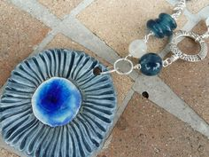 ON SALE Sea Goddess Blue Urchin Ceramic Pendant with Apatite, Moonstone, Glass, Pewter and Silver on Antiqued Silver Chain