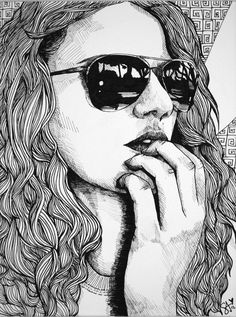Self Portrait done in Pen and Ink  Loving my shades <3