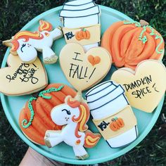 Loving these cookies Loving our Glitter the Unicorn all decked out for fall! Thanksgiving Cookies, Fall Cookies, Iced Cookies, Cute Cookies, Holiday Cookies, Cupcake Cookies, Sugar Cookies, Cupcakes, Fall Decorated Cookies