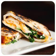 yum. cheesy spinach and bacon quesadillas.