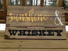 Sunshine and whiskey reclaimed wood sign, rustic wall art, country wall decor, country lyrics on wood, love quotes by truelovecreates on Etsy https://www.etsy.com/listing/228543910/sunshine-and-whiskey-reclaimed-wood-sign