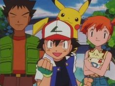 Brock, Ash, Pikachu, Misty  Togepi