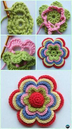 Crochet Layered Summer Flower Free Pattern - Crochet 3D Flower Motif Free Patterns