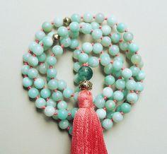 108 Amazonite Mala Beads / Moss Agate Guru Bead by BodhiTreeGarden
