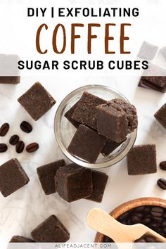 Cleanse moisturize and exfoliate your skin with this easy recipe for homemade coffee sugar scrub cubes. These exfoliating cubes are made with natural ingredients like coconut oil melt and pour soap and real coffee grounds! Sugar Scrub Homemade, Sugar Scrub Recipe, Homemade Soap Recipes, Diy Body Scrub, Diy Scrub, Coffee Soap, Coffee Scrub, Coffee Sugar Scrubs, Zucker Schrubben Diy