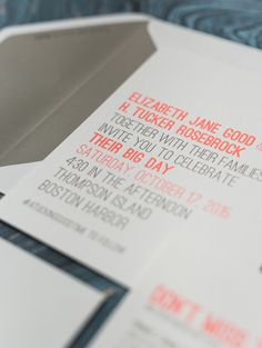 Modern Neon Typography Wedding Invitations by Smudge Ink / Oh So Beautiful Paper