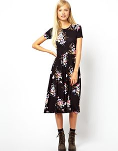 ASOS Midi Skater Dress In Vintage Tapestry Floral......just without those shoes