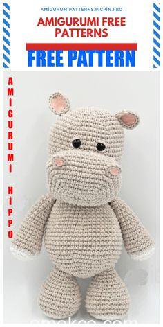 Crochet animals 338755203226887064 - Amigurumi Cute Hippopotamus Free Crochet Pattern – Amigurumi Patterns Source by Valandtime Crochet Hippo, Crochet Animal Amigurumi, Crochet Amigurumi Free Patterns, Crochet Animal Patterns, Stuffed Animal Patterns, Crochet Animals, Free Crochet, Crochet Teddy Bear Pattern Free, Mini Amigurumi