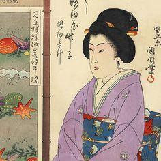 Teahouse, Beauty, and Suzaki Seashells Textile Print by Kunichika (1835 - 1900)