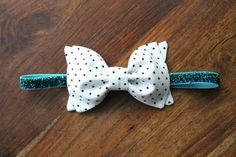 Girls Fabric Bow Headband or Hair Clip - Black and White Polka Dot with Glitter Elastic