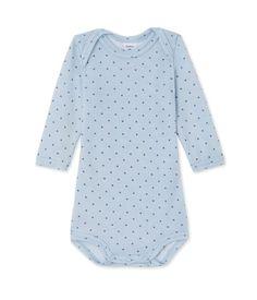 Body bébé garçon manches longues laine et coton Petit Bateau bleu, gris