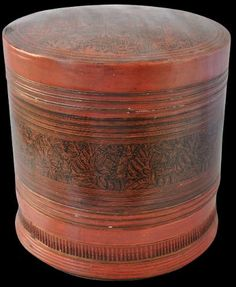 Lacquer Betel Box Shan States, Eastern Burma (Myanmar) circa 1880  height: 18cm, diameter: 18.5cm  This round box, in red and black lacquer ...