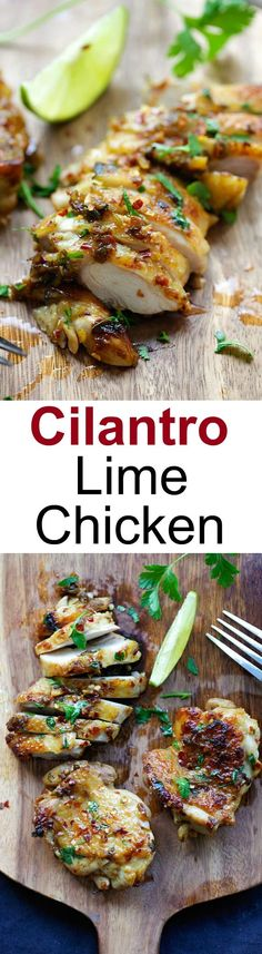 Cilantro Lime Chicken - juicy Mexican-inspired chicken marinated with cilantro, lime & garlic. Pan-fry, bake or grill with this recipe!