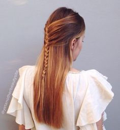 Braided Half Updo For Straight Hair