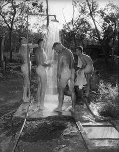 Just a few pictures that grabbed my attention. No one under 18 admitted, with or without parent or guardian. Carry on. Men In Shower, White Man, Black And White, Forgetting The Past, Camping Life, Male Beauty, Vintage Men, Vintage Photos, Photo Art