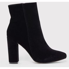 Behati Black Faux Suede Ankle Boots (€47) ❤ liked on Polyvore featuring shoes, boots, ankle booties, black boots, bootie boots, black bootie, faux suede ankle booties and faux suede boots