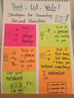 Strategies for generating ideas for personal narrative writing Narrative Writing Prompts, Personal Narrative Writing, Writing Strategies, Informational Writing, Personal Narratives, Writing Process, Writing Mini Lessons, Teaching Writing, Kindergarten Writing