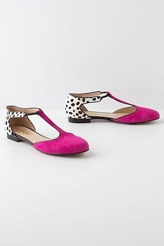 Today's So Shoe Me is the Bette T-Straps by Candela, $220, available at Anthropologie. Dalmatian print pony hair and hot pink suede keeps you fashion forward in a fancy flat perfect for those times when you need comfort but won't sacrifice style.