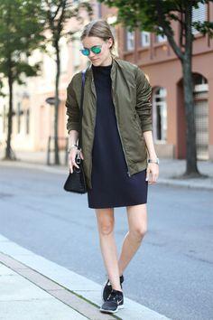 bomber et robe basket outfit inspiration assoicer mon bomber