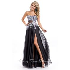 Strapless black corset prom dress size 10 Strapless corset gown with heavily jeweled bodice and sheer cut outs. Size 10 Dresses Maxi