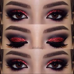 devil makeup for my minnie mouse look im going for Red Glitter Eye make up look Red Eye Makeup, Halloween Eye Makeup, Glitter Eye Makeup, Goth Makeup, Smokey Eye Makeup, Beauty Makeup, Red And Black Eye Makeup, Red Glitter Nails, Crazy Makeup