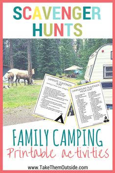 am image of some elk in a campground, text reads scavenger hunts, family camping printable activities Camping Activities For Kids, Camping Games, Camping Checklist, Camping Crafts, Camping Essentials, Camping Equipment, Tent Camping, Outdoor Camping, Camping Ideas