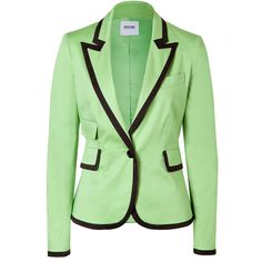 MOSCHINO C&C May Green/Black Trimmed Cotton Blazer ($240) ❤ liked on Polyvore featuring outerwear, jackets, blazers, tops, coats, two tone blazer, tailored blazer, cotton jacket, two tone jacket and long sleeve jacket