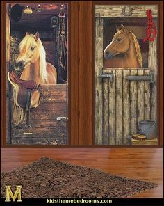 horse themed girls bedroom | horse wall murals-horse wall mural decals-horse theme bedrooms