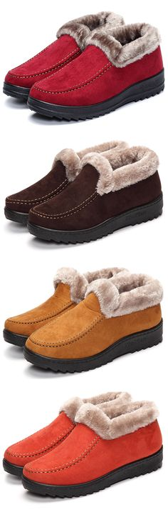 Suede Wool Lining Slip On Ankle Short Snow Boots. Comfortable and warm  boots in winter 0a5093684fa