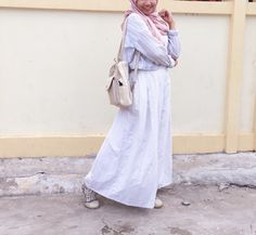 Pink bany blue hijab ootd