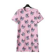 ТИК-ТИК 2016 Бесплатная доставка новые прибытия женщины повседневные платья с коротким рукавом o-образным вырезом с рисунком кошки модные платья #P0722