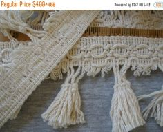 "Cotton Braid & Tassels Trim 2.75"" wide Natural color Thick Fringe trim retro BTY yardage sewing crafts costume home decor boho hippie"