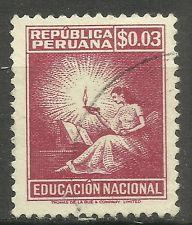 Peru Estampillas 1952 símbolo de la educación-con la nota Usado Ver Imagen