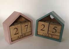 Hand finished perpetual wooden calendar rustic shabby chic by DottyCottage1 on Etsy