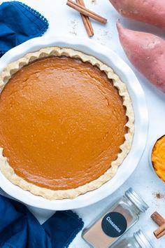 Velvety smooth and creamy Sweet Potato Pie is made with a homemade puree and a buttery and flaky pie crust.  This Southern Sweet Potato Pie recipe is easy to make and is the perfect dessert for Thanksgiving day.  It can also be made gluten-free and vegan with a few simple ingredient swaps.  #sweetpotato #pie #thanksgiving #dessert Pie Recipes, Baking Recipes, Dessert Recipes, Homemade Sweet Potato Pie, Freeze Sweet Potatoes, Homemade Pie Crusts, Healthy Sweet Treats, Thanksgiving Desserts, Gluten Free Desserts