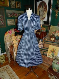 Vintage 50's 60's Navy w White Dots Nylon Dress w NIP Waist Full Skirt L | eBay