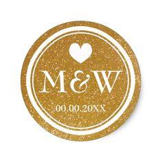 Sparkly gold monogram wedding favor stickers seals #stickers